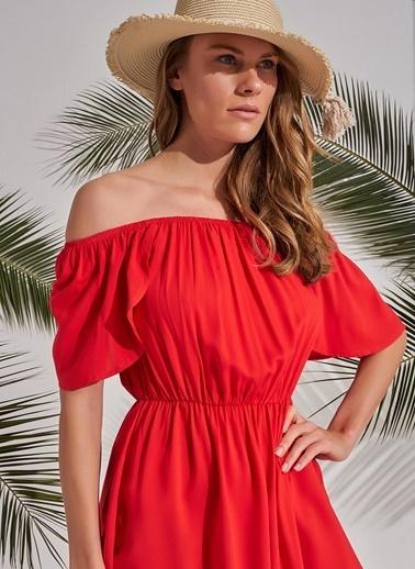 Morhipo Beach Düşük Omuz Elbise Kırmızı